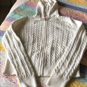 Lily Pulitzer- white cable knit sweater hoodie